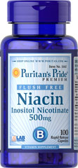 Niacin 500 mg - Flush Free - 100 Capsules