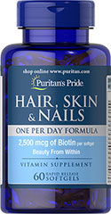 Hair, Skin, Nails - One Per Day - 60 softgels